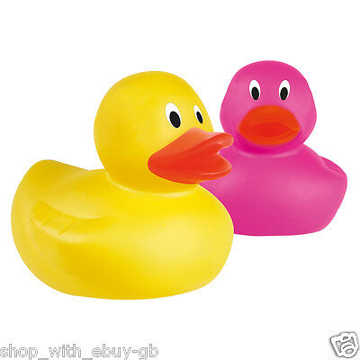 5x RUBBER COLOUR DUCKS FUN KIDS BATH SQUEAKY TOY BABY DUCK TIME HEAT YELLOW PINK