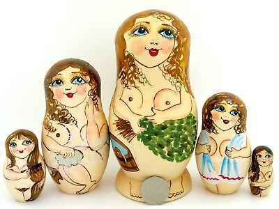 Russian nesting dolls NUDE LADYs MATRIOSHKA 5 BANYA SAUNA UNIQUE GIFT signed ART
