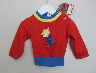 vintage baby top red blue ski logo USA retro 60's age 1 boy girl NWT's