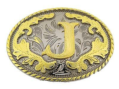 "Western Gold Color Initial Letter ""J"" Oval Rodeo Cowboy Belt Buckle"