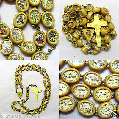 † Scarce Higly Collectible Civelli Relic Litany Of Mary Pictorial Bead Rosary †