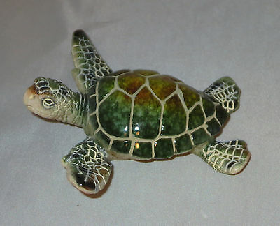"""Sea Turtle Figurine Green Water Animals 3.5"""" Wide Poly Resin New"""