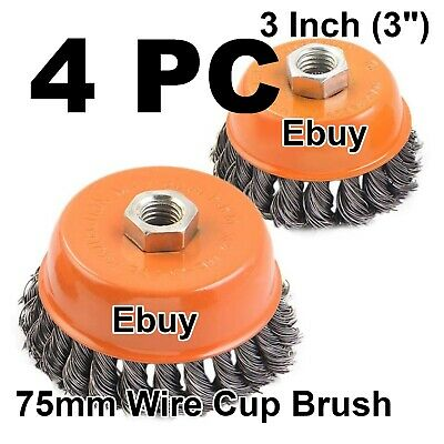 "4pcs - 3"" Twist Cup Wire Brush 5/8"" Twisted Wire Fits Most Angle grinders"