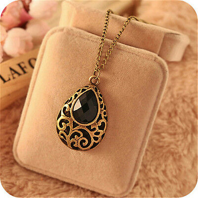 New Women Jewelry Gold Long Chain Pendant Bib Crystal Vintage Statement Necklace
