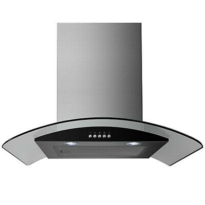electriQ 60cm Curved Glass Stainless Steel Chimney Cooker Hood Extractor Fan