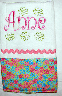 One Pink and Green Floral Personalized Embroidered Burp Cloth