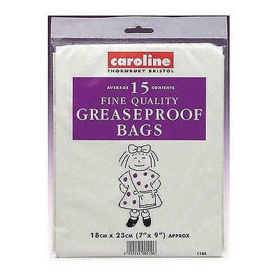 """Caroline Pack of 15 Greaseproof Bags 7"""" x 9"""" (18cm x 23cm) Baking Cooking"""