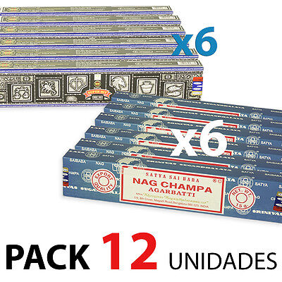 Incienso Nag Champa Y Super Hit 15 Grs, Pack 6+6 + Quemador De Regalo