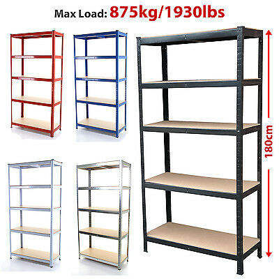 1.8M Metal Shelving Unit 5 Tier Industrial Boltless Heavy Duty Racking Garage