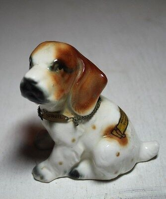 vintage old SPANIEL sitting DOG ceramic porcelain figurine souvenir Tennessee