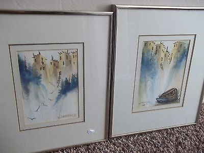 2 Original Watercolor Paintings South West Art By W. Onefeather (F. W. Anderson)