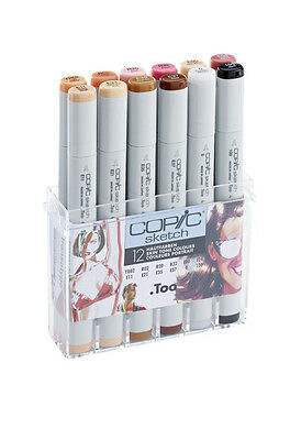 Copic Sketch Pens - 12 Skin Tone Colour Set - Graphic Art Markers
