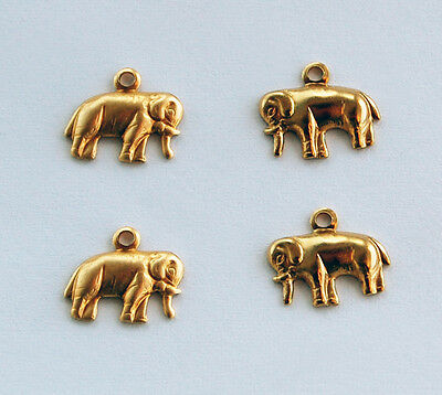 VINTAGE BRASS PENDANT BEADS STAMPING 4 TINY ELEPHANT CHARMS Left & Right