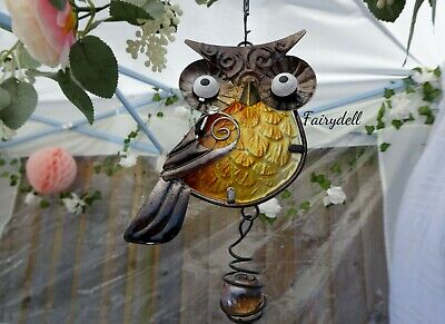 Springy Bouncing Owl Bell Wind Chime / Sun Catcher/ Mobile ~  Windchime