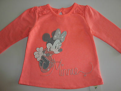 DISNEY Really Cute Fluorescent Pink Minnie Mouse Long Sleeve Top NWT