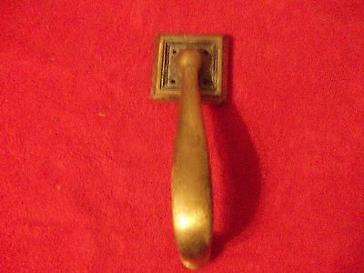 Vintage Brass Door Handle With Square Back Plate