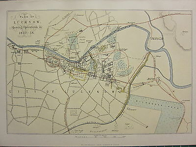 1895 Antique Map ~ Plan Of Lucknow Showing Operations 1857 Kaiser Bagh