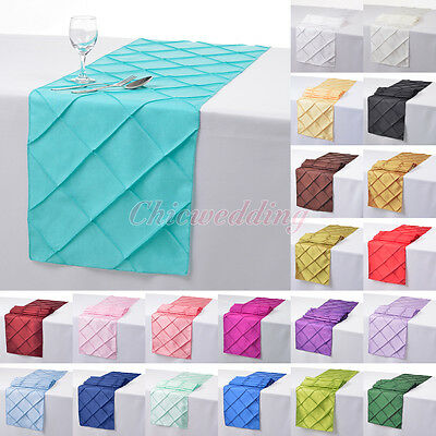 "1/5/10/20 PCS 12""x108"" Pintuck Table Runner Cloth for Wedding Party Decoration"