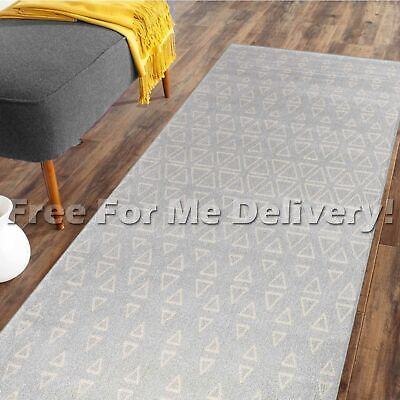 DENVER TRIBAL TRIANGLES GREY MODERN FLOOR RUG RUNNER 80x300cm **FREE DELIVERY**