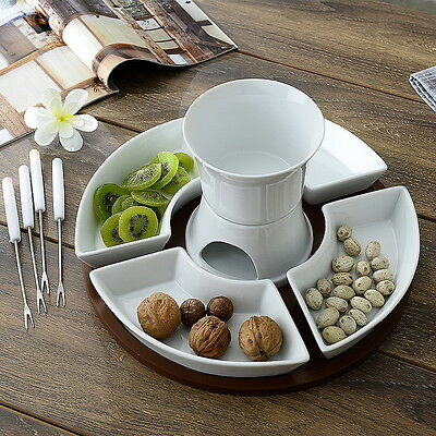 11pc Ceramic Chocolate Cheese Fondue Set 4 Forks 4 Plates 1 candle #3DW