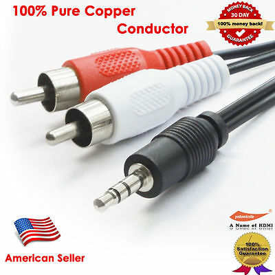 6FT 12FT Aux Audio 3.5mm Stereo Male to 2RCA Y CABLE FOR IPOD MP3 3.5MM To 2RCA