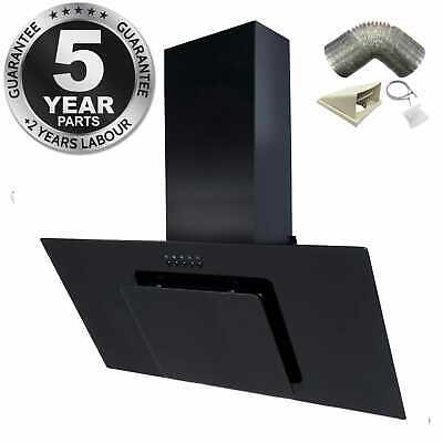 SIA 90cm Black Angled Glass Chimney Cooker Hood Extractor + 1m Ducting Kit