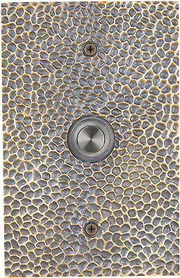 Waterwood Hardware Solid Brass Large Hammered Plate Doorbell
