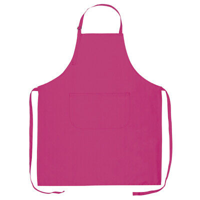 Plain Chefs Apron 100% Cotton Catering with Bib Pockets Cooking BBQ Chef Kitchen