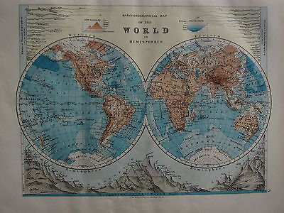 1900 Victorian Map ~ The World Western & Eastern Hemispheres Mountains Rivers