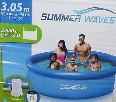 Summer Waves 10ft Swimming Pool Quick Set ,Filter Pump, Cover & Ground Cloth