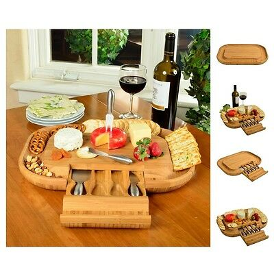 Bamboo Cheese Board Set Drawer Stainless Steel Tool Cracker Serving Tray Kitchen