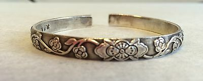 Antique Chinese Qing Silver Bracelet Bangle Maker Artist Signed Pure Silver Mark