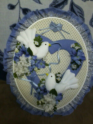 New- Amish Made Framed- Stuffed Love Dove Picture