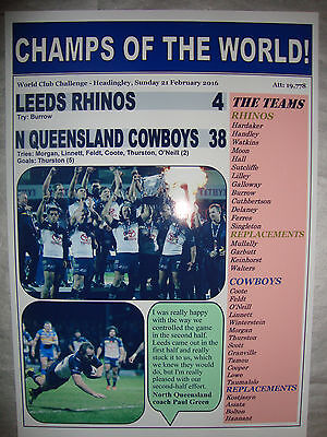 Leeds Rhinos 4 N Queensland Cowboys 38 - 2016 World Club Series - souvenir print
