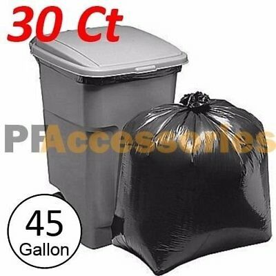 30 Pcs Heavy Duty 45 Gallon Extra Large Commercial Trash Bag Garbage Yard Black