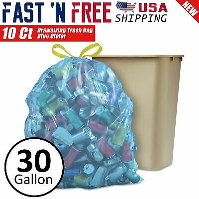 10 Ct Heavy Duty 30 Gallon Commercial Drawstring Trash Bag Garbage Yard (Black)