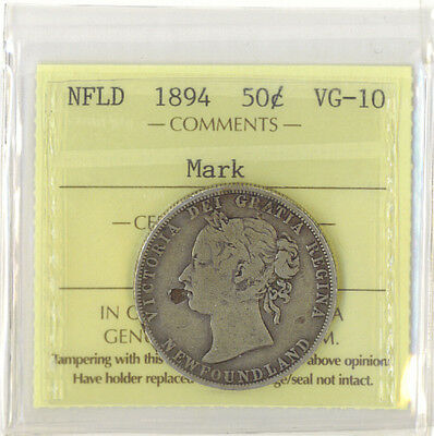 Canada Newfoundland 1894 50 Cents ICCS Certified VG-10 Mark on Obverse Silver