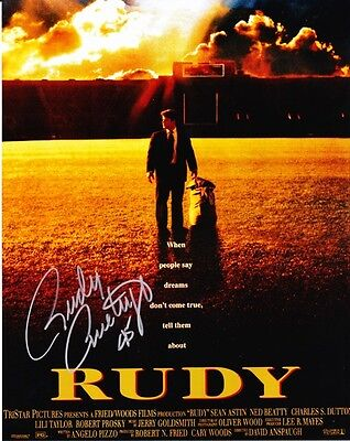 RUDY RUETTIGER AUTOGRAPHED NOTRE DAME 16x20 MOVIE POSTER