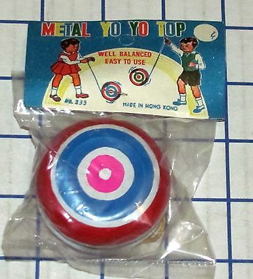 Vintage Metal Yo Yo Top No. 233 Hong Kong 1960s Tin Yo-Yo Mint In Bag