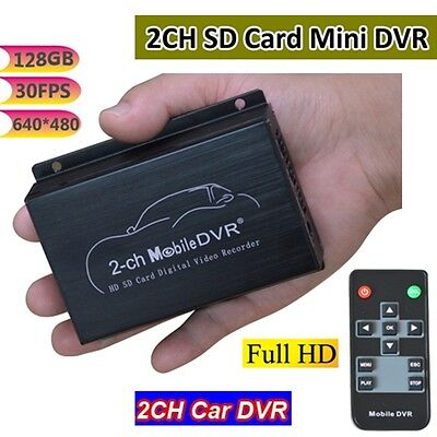 Small 2 CH Channel Real-time Car Video Recorder DVR System Support NTSC / PAL