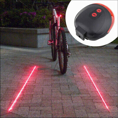 5 LED +2 Laser Cycling Bicycle Bike Rear Tail Safety Warning Flashing Lamp Light