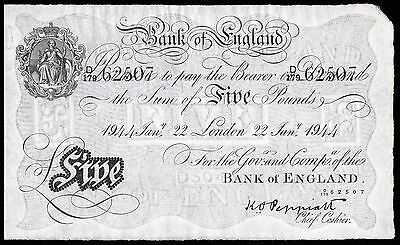 B241 PEPPIATT 1944 WHITE £5 NOTE * D/179 62507 * gEF *