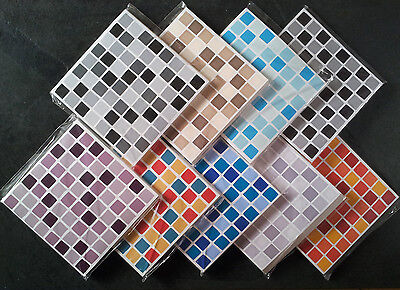 10 MOSAIC TILE STICKERS Stick On Tile Transfers Bathroom Kitchen SELF ADHESIVE
