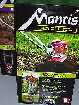 New Mantis 2-Cycle Tiller with Kickstand, Border Edger & Warranty - NO RESERVE