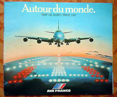Catalogue Des Tarifs De Bord Air France 1978