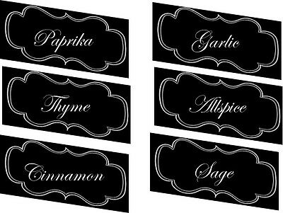 Vintage inspired 30  black & white spice food labels stickers  glossy laminated