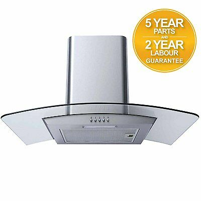 SIA CPL71SS 70cm Curved Glass Stainless Steel Chimney Cooker Hood Extractor Fan