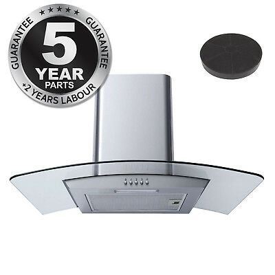 SIA CPL71SS 70cm Curved Glass Stainless Steel Cooker Hood + Charcoal Filters