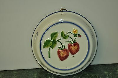 Vintage ABC Bassano Porcelain Ceramic Strawberry Hand Painted Signed Pia