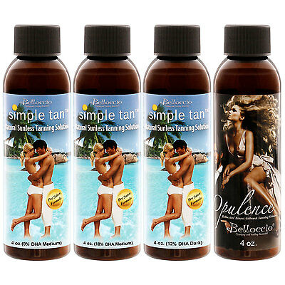 4 Belloccio Simple Tan 8% 10% 12% DHA SUNLESS TANNING SOLUTIONS Spray Airbrush